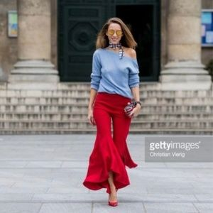 Red Asymmetrical Flare Pants
